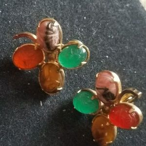 Scarab screw back earrings
